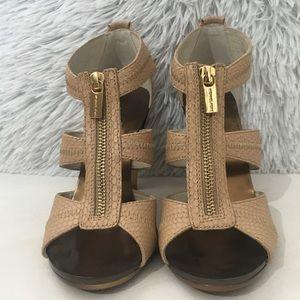 NWOB Michael Kors Tan/Bronze Zip Sandals